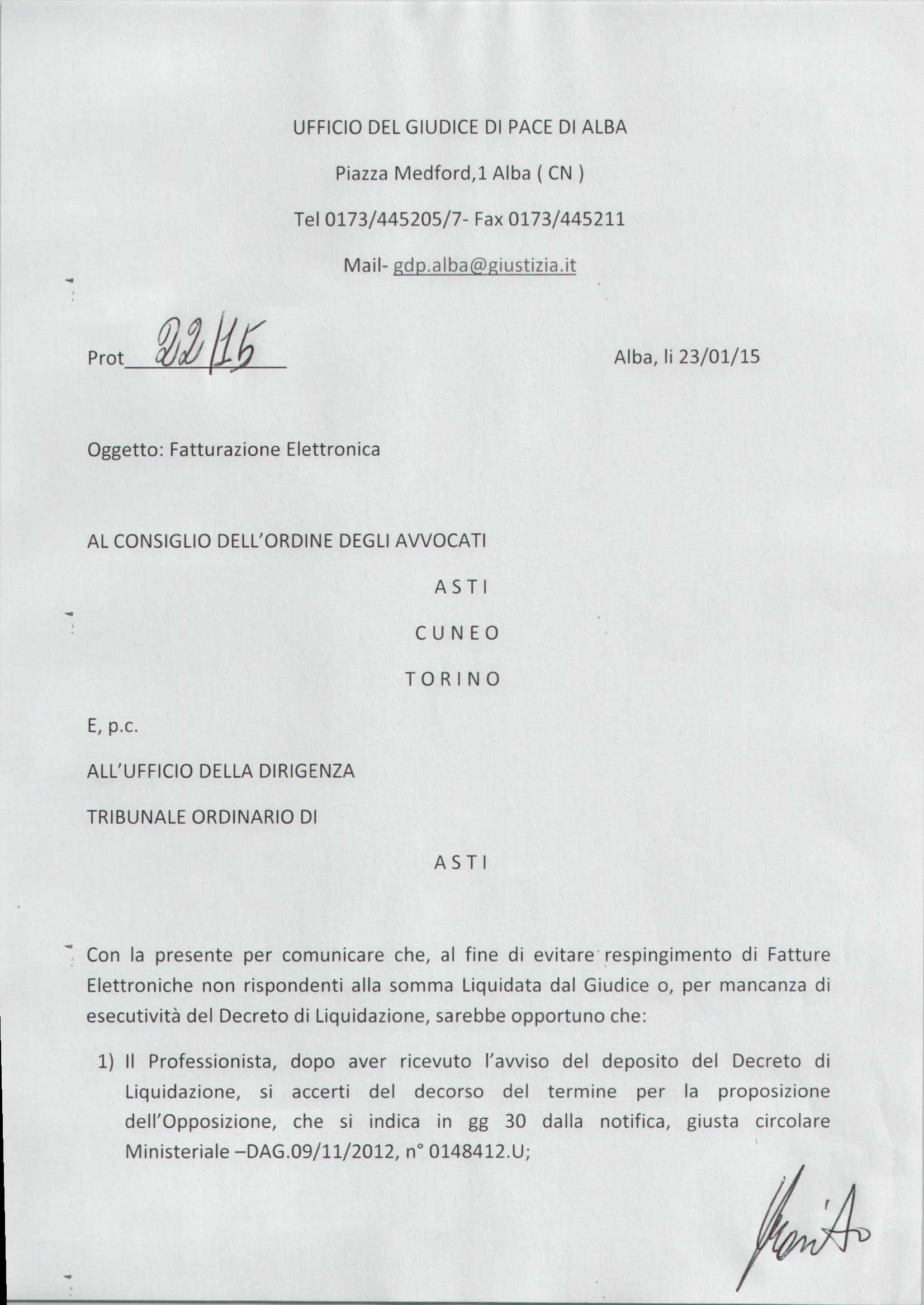 Prima parte delle disposizioni del Giudice di Pace di Alba